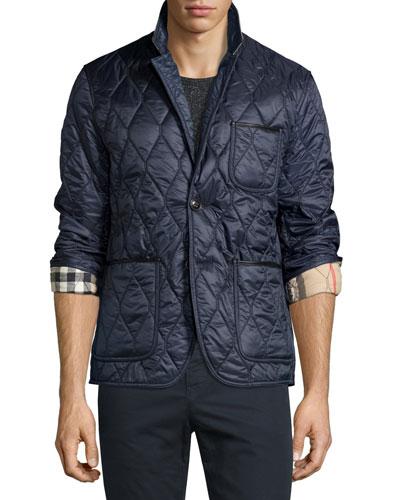 Gillington Leather-Trim Quilted Blazer