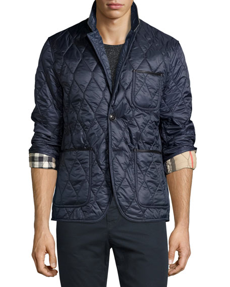 Burberry Gillington Leather-Trim Quilted Blazer