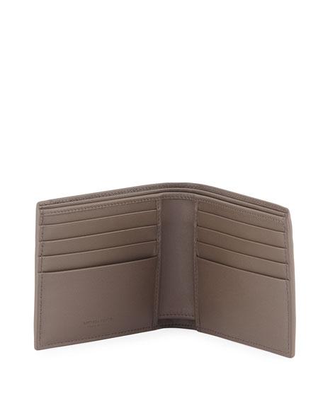 Embroidered Intrecciato Leather Bi-Fold Wallet, Gray