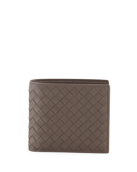 Embroidered Intrecciato Leather Bi-Fold Wallet, Gray