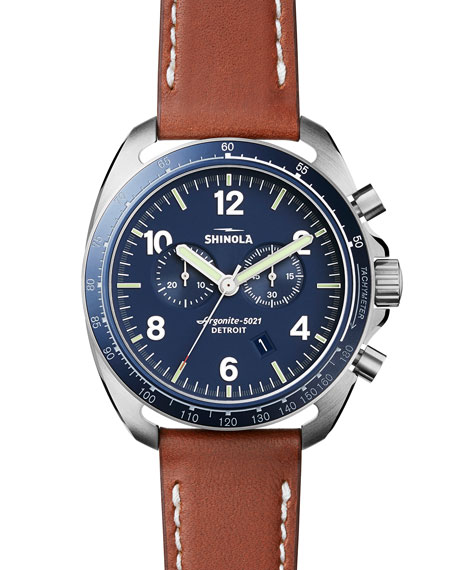 Shinola 44mm Rambler Tachymeter Watch, Tan