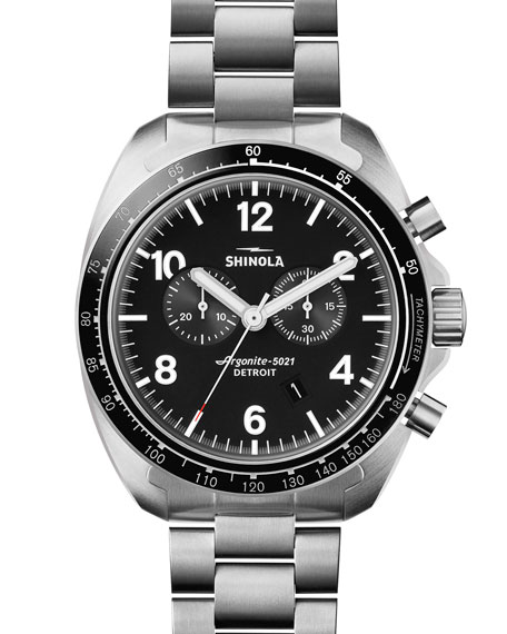 Shinola 44mm Rambler 600 Tachymeter Watch, Silver