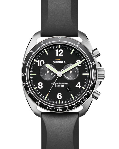 Shinola Men's 44mm Rambler Tachymeter Watch, Black