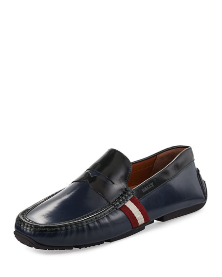 Bally Perceval Leather Driver with Trainspotting Stripe, Ink/Dark