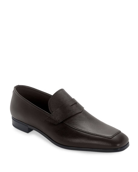 Prada Saffiano Leather Penny Loafer, Cafe