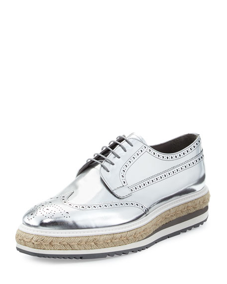 Prada Men's Metallic Leather Brogue Espadrille Creeper, Gray