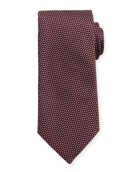 Woven Two-Tone Textured Neat Silk Tie, Burgundy/Navy