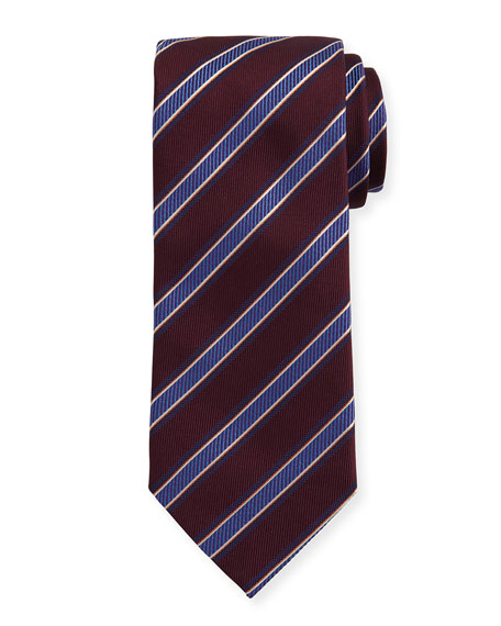 Woven Twill Stripe Silk Tie, Burgundy/Blue
