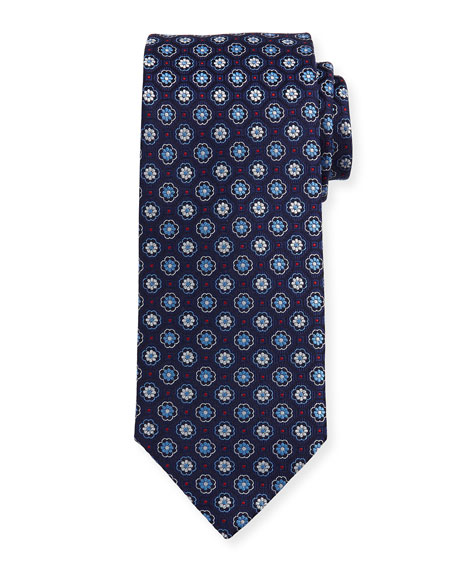 Eton Woven Flower Medallion Silk Tie, Blue