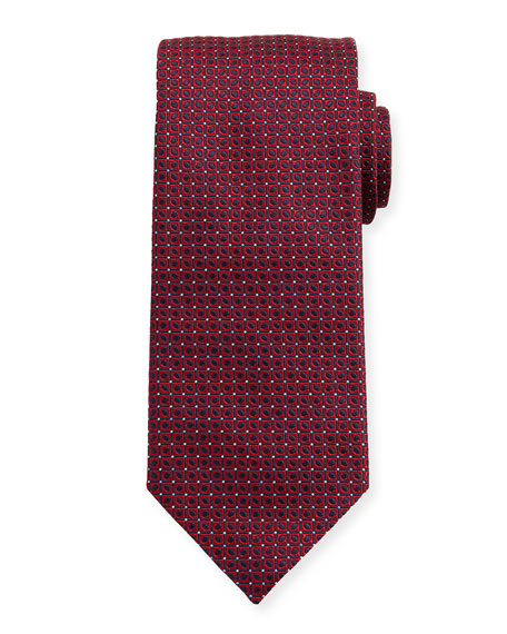 Woven Dotted Fancy Box Silk Tie, Pink
