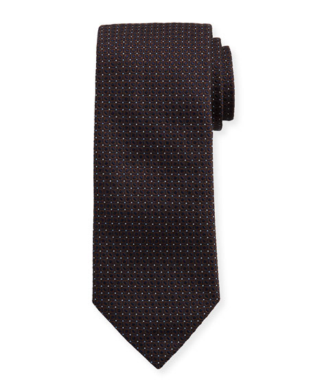 Eton Woven Dotted Fancy Box Silk Tie, Brown