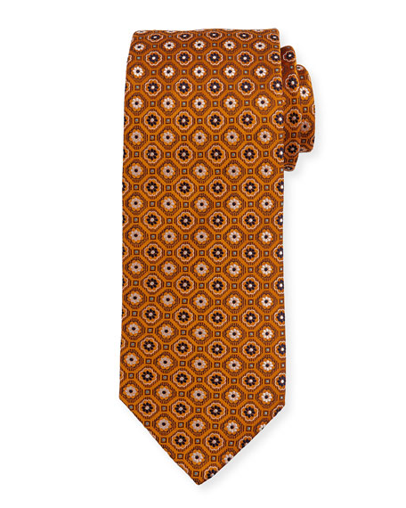 Woven Flower Medallion Silk Tie, Yellow/Orange
