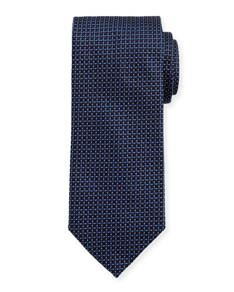 Eton Woven Dotted Circles Neat Silk Tie, Blue