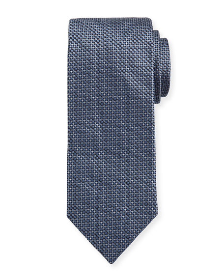 Woven Dotted Circles Neat Silk Tie, Steel Blue