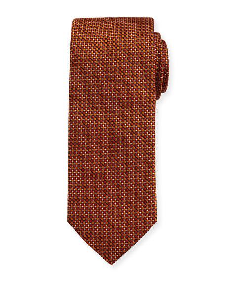 Woven Dotted Circles Neat Silk Tie, Yellow/Orange