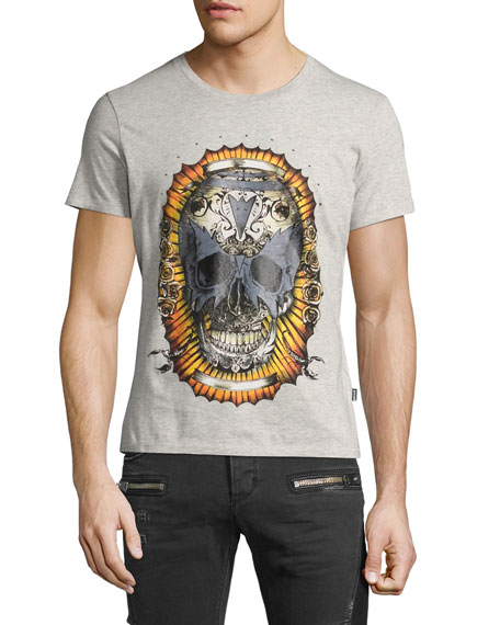Just Cavalli Skull-Print Graphic T-Shirt, Gray