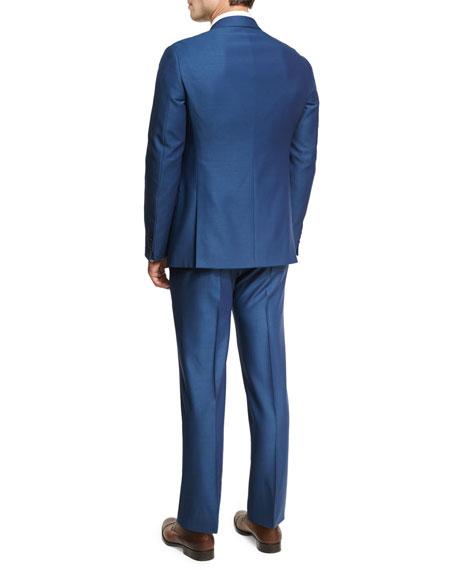 Birdseye Wool Two-Piece Suit, Ocean Blue
