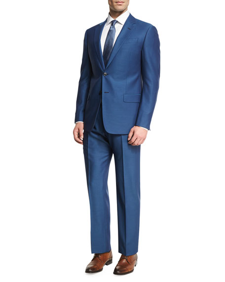 Armani Collezioni Birdseye Wool Two-Piece Suit, Ocean Blue