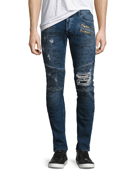 Just Cavalli Graffiti Moto Skinny Jeans, Blue