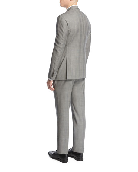 Prince of Wales Check Two-Piece Suit, Light Gray