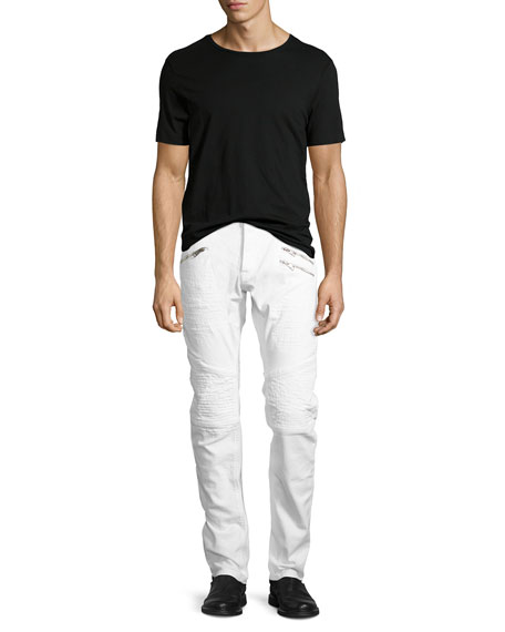 Just Cavalli Distressed Slim-Straight Moto Jeans, White