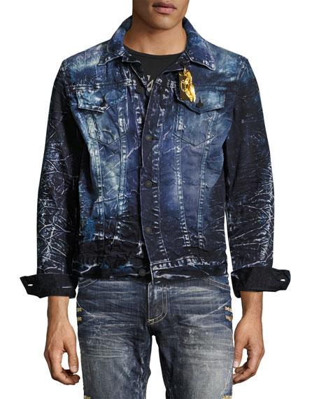 Embroidered Denim Jean Jacket, Blue/Purple
