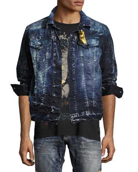 Robin's Jeans Embroidered Denim Jean Jacket, Blue/Purple