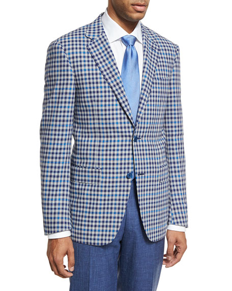 Canali Check Wool Two Button Sport Coat Light Gray Blue