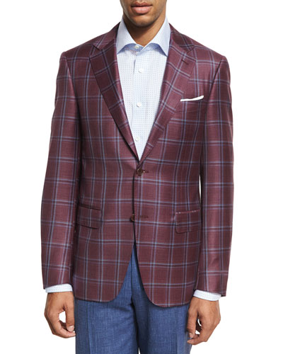 Plaid Wool Two-Button Sport Coat, Berry Red/Blue