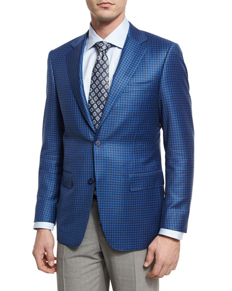Gingham Wool Two-Button Sport Coat, Blue