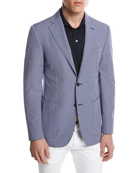 Canali Kei Seersucker Micro-Check Blazer, Blue/White