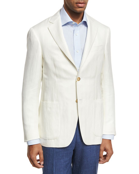 Canali Herringbone Silk-Linen Two-Button Blazer, Ivory