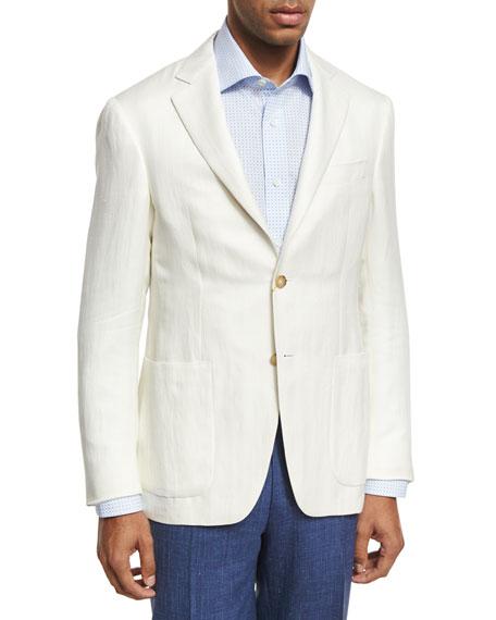 Canali Herringbone Silk-Linen Two-Button Blazer, Ivory