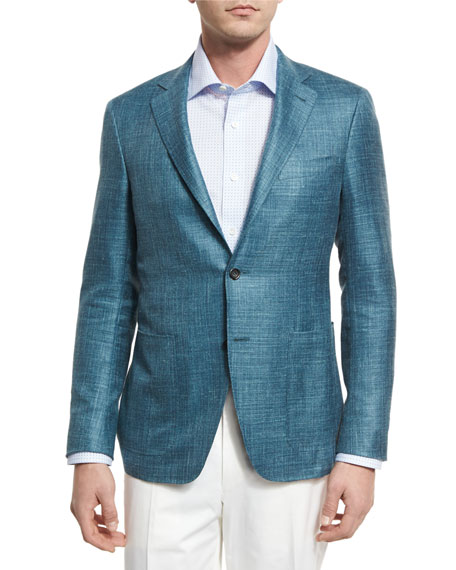 Canali Wool-Blend Two-Button Blazer, Teal Green