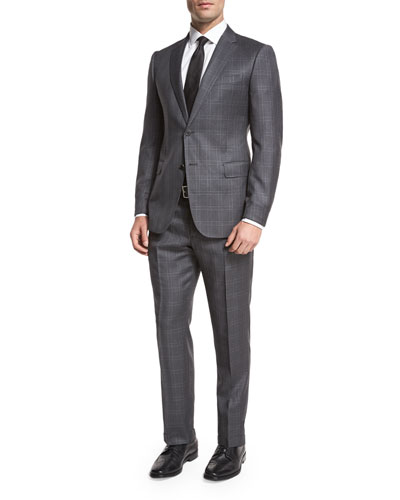Windowpane Check Wool Two-Piece Suit, Gray/White