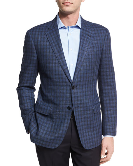 Armani Collezioni Houndstooth Check Two-Button Sport Coat,
