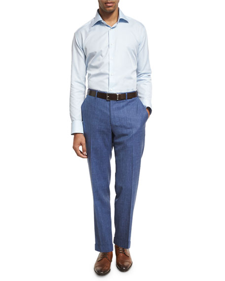 Heathered Solid Flat-Front Trousers, Blue