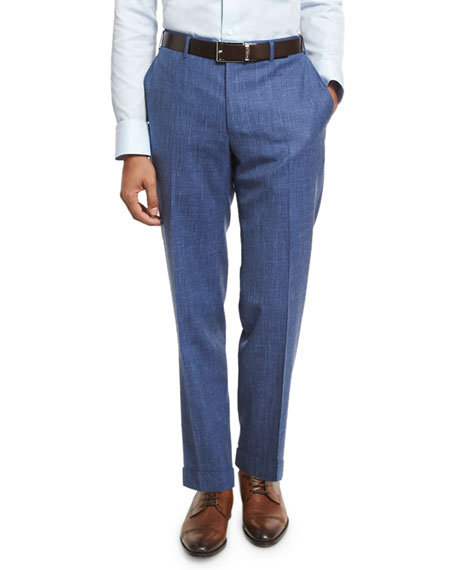 Canali Heathered Solid Flat-Front Trousers, Blue