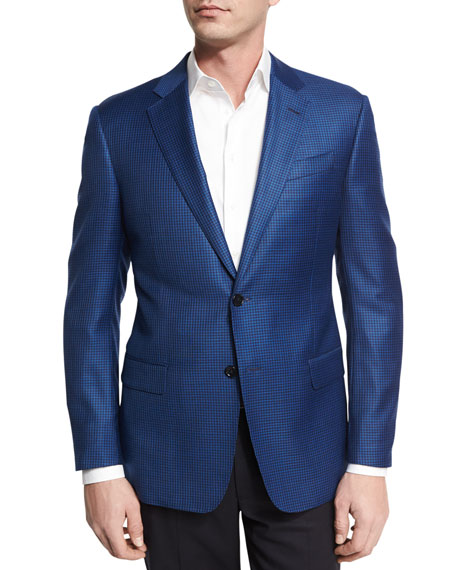 Armani Collezioni Houndstooth Wool Two-Button Sport Coat, Bright