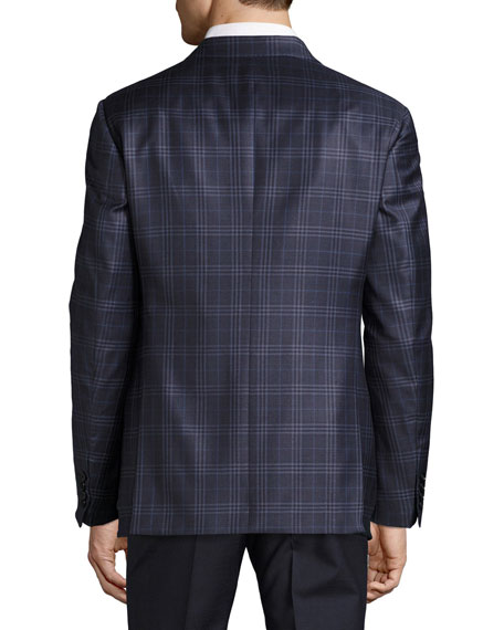 Plaid Wool Two-Button Sport Coat, Navy