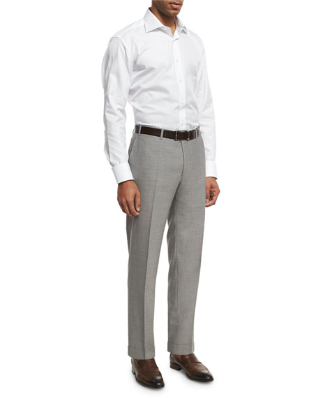Solid Wool Flat-Front Trousers, Light Gray
