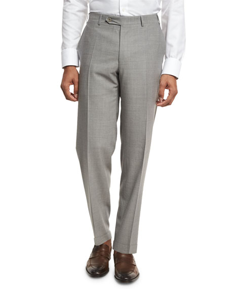 Canali Solid Wool Flat-Front Trousers, Light Gray