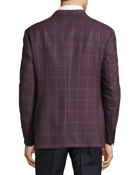 Windowpane Wool Two-Button Sport Coat, Pomegranate