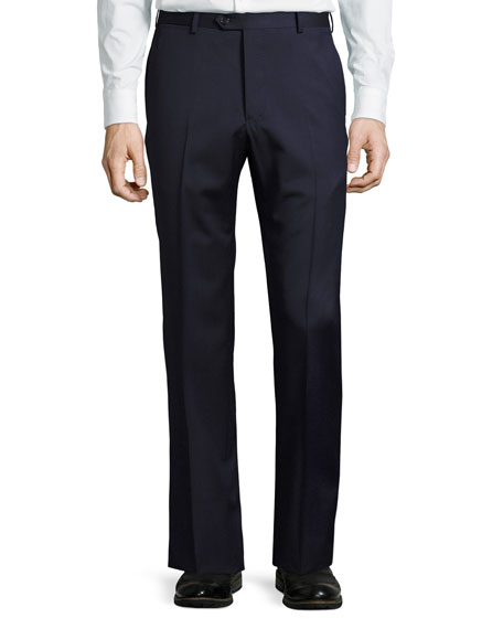 Micro-Textured Wool Trousers, Navy