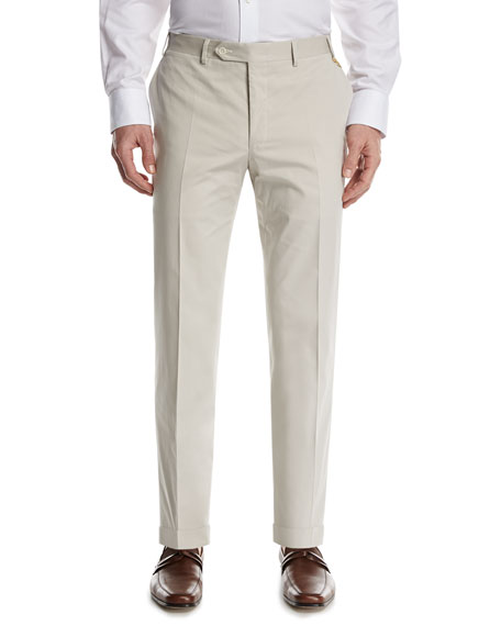 Canali Stretch-Cotton Flat-Front Pants, Stone (Gray)