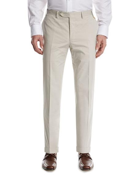 Stretch-Cotton Flat-Front Pants, Stone (Gray)