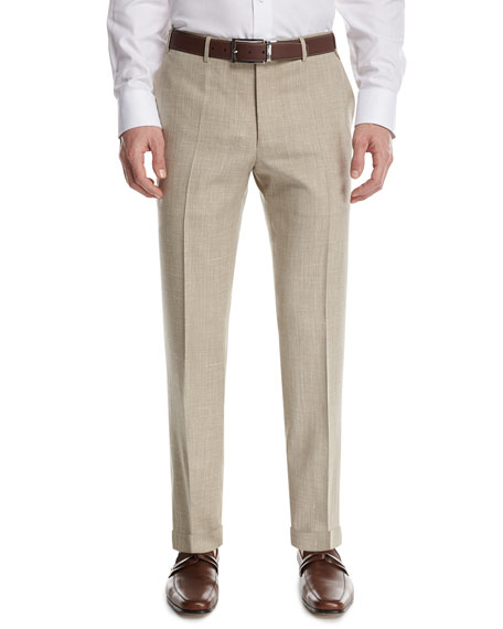 Canali M??lange Flat-Front Pants, Tan (Brown)