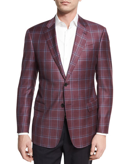 Plaid Wool Two-Button Sport Coat, Bright Pomegranate