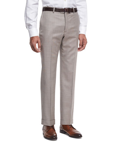 Wool Textured Trousers, Light Tan (Brown)