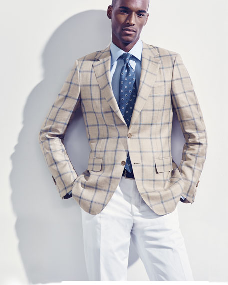 Stretch-Cotton Flat-Front Dress Pants, White